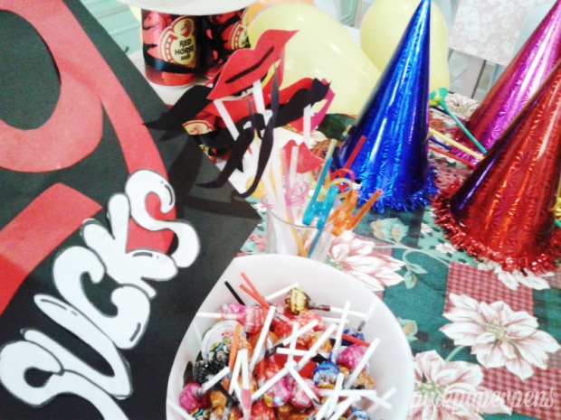 Got the colorful hats for just P10.00 each! And the sticks mustache and lips were recycled items from the Valentine's event at the office. They sure made their way to a lot of photos!