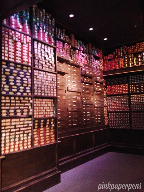 Enter Ollivander's Wand Shop and see this impressive collection of wands with actual names on each of the thousands of boxes.