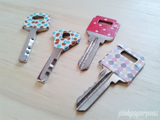 Chose similar themed (polka dots) for my home keys. The identically designed ones are two different keys for one gate.